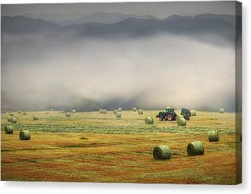 John Deere At Work Canvas Print by William Schmid
