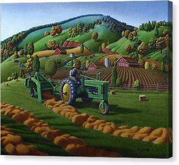 Rustic John Deere Farm Tractor Baling Hay - Rural Country Folk Art Landscape - Summer Americana Canvas Print by Walt Curlee