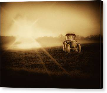 Canvas Print featuring the photograph John Deere Glow by Kelly Reber