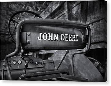 John Deere Tractor Bw Canvas Print by Susan Candelario