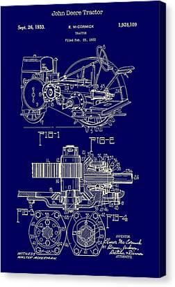 John Deere Tractor Patent 1933 Canvas Print