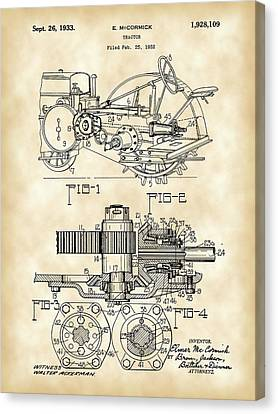 Disk Canvas Print - John Deere Tractor Patent 1932 - Vintage by Stephen Younts