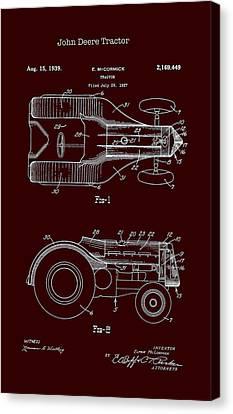 John Deere Tractor Patent 1939 Canvas Print