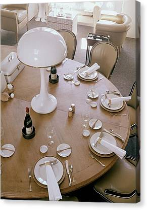 John Dickinson's Dining Table Canvas Print by Fred Lyon