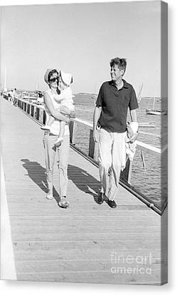 John F. Kennedy And Jacqueline Kennedy At Hyannis Port Marina Canvas Print by The Harrington Collection