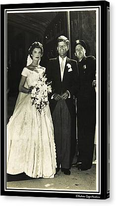John F Kennedy And Jacqueline On Wedding Day Canvas Print