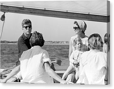 John F. Kennedy And Jacqueline Sailing Off Hyannis Port Canvas Print by The Harrington Collection
