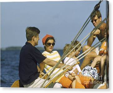 Senator Kennedy Canvas Print - John F. Kennedy Boating by The Harrington Collection