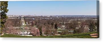 Arlington National Cemetery Canvas Print - John F. Kennedy Gravestones by Panoramic Images