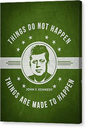 John F Kennedy - Green Canvas Print by Aged Pixel