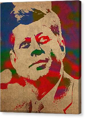 Portraits On Canvas Print - John F Kennedy Jfk Watercolor Portrait On Worn Distressed Canvas by Design Turnpike