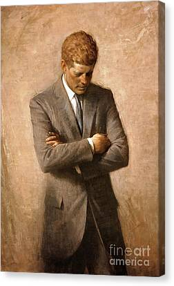 John F Kennedy - Official Portrait Canvas Print by Pg Reproductions