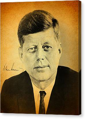 John F Kennedy Portrait And Signature Canvas Print by Design Turnpike