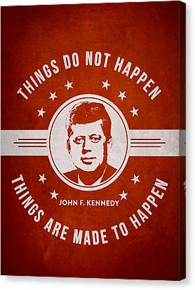 John F Kennedy - Red Canvas Print by Aged Pixel