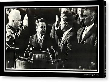 John F Kennedy Takes Oath Of Office Canvas Print