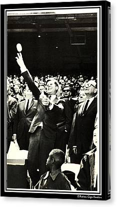 John F Kennedy Throws First Pitch Canvas Print by Audreen Gieger
