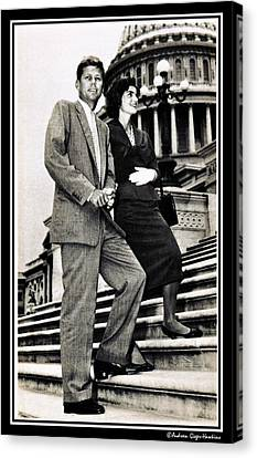 John F Kennedy With Jacqueline On Steps Canvas Print by Audreen Gieger