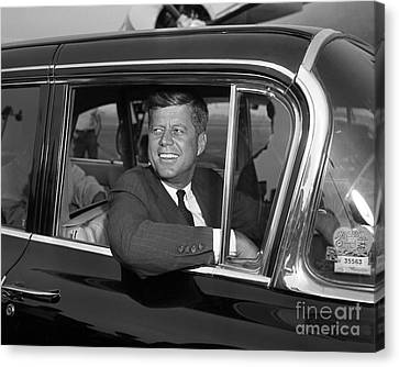 Canvas Print featuring the photograph John Kennedy 1960 by Martin Konopacki Restoration