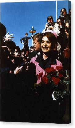 John Kennedy Arrives In Dallas Canvas Print by Retro Images Archive