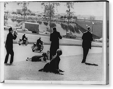 John Kennedy Assasination Newswire Photo Dallas Canvas Print by Retro Images Archive