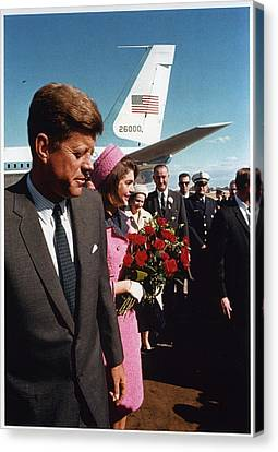 John F. Kennedy In Dallas Canvas Print by Retro Images Archive