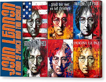 John Lennon - A Man Of Peace And The World. A Collage Canvas Print by Vitaliy Shcherbak