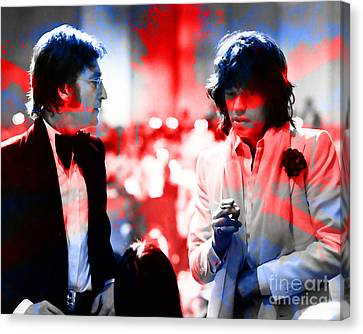 John Lennon And Mick Jagger Painting Canvas Print by Marvin Blaine