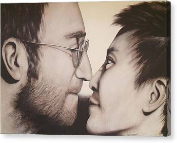 John Lennon And Yoko Ono Canvas Print by Bruce McLachlan