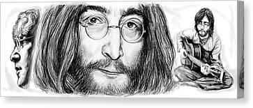 John Lennon Art Drawing Sketch Poster Canvas Print by Kim Wang
