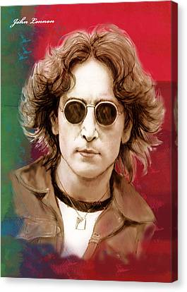 John Lennon Art Stylised Drawing Sketch Poster Canvas Print by Kim Wang