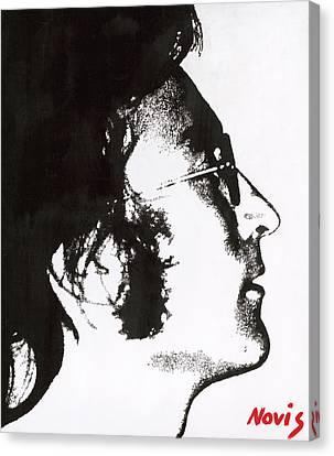 John Lennon Bw Canvas Print by Barry Novis