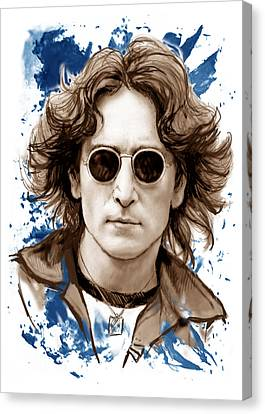 John Lennon Colour Drawing Art Poster Canvas Print by Kim Wang