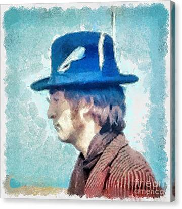 John Lennon - Feathers In His Hat Canvas Print by Paulette B Wright