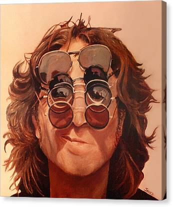 Canvas Print featuring the painting John Lennon by Janice Dunbar