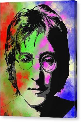 Four Strawberries Canvas Print - John Lennon Pop Art Closeup by Daniel Hagerman