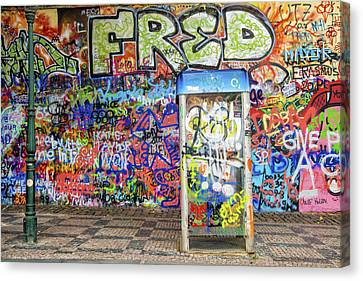 John Lennon Wall In Prague With Colorful Graffiti Canvas Print by Matthias Hauser