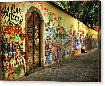 Canvas Print featuring the photograph John Lennon Wall by Wendell Thompson