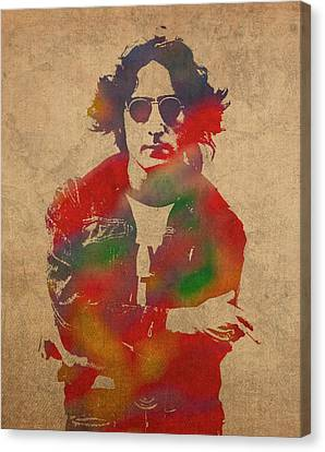 John Lennon Watercolor Portrait On Worn Distressed Canvas Canvas Print by Design Turnpike