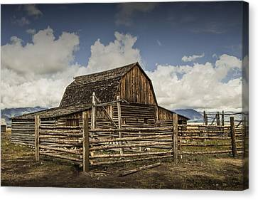 John Moulton Barn On Mormon Row Canvas Print by Randall Nyhof