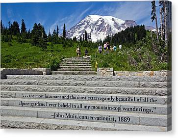 John Muir Quote At Mt Rainier Canvas Print by Bob Noble Photography