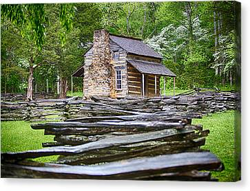 John Oliver Cabin In Cades Cove Canvas Print by John Haldane