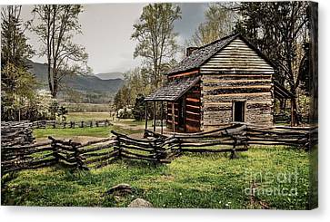 Canvas Print featuring the photograph John Oliver's Cabin In Spring. by Debbie Green