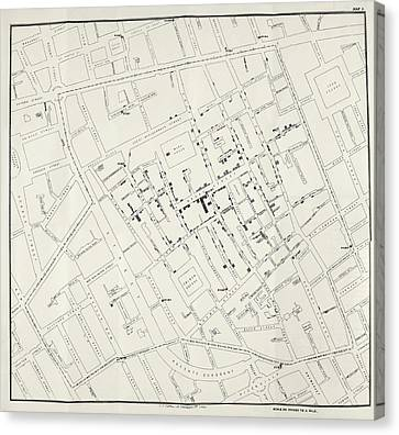 John Snow's Cholera Map Canvas Print by British Library