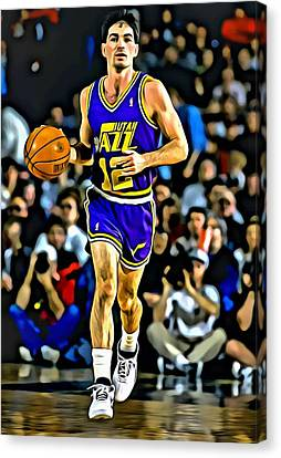 John Stockton Portrait Canvas Print by Florian Rodarte