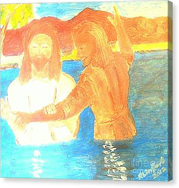 John The Baptist Baptizing Jesus In River Jordan By Immersion Canvas Print by Richard W Linford