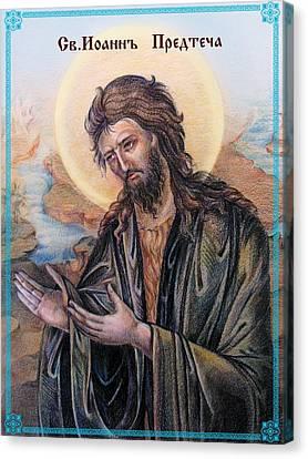 Russian Icon Canvas Print - John The Baptist  by Natalia Lvova