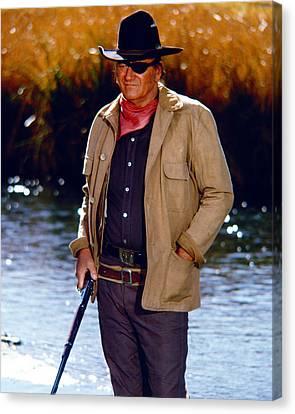 John Wayne In Rooster Cogburn  Canvas Print by Silver Screen