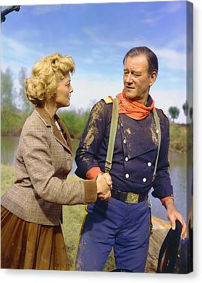 John Wayne In The Horse Soldiers Canvas Print by Silver Screen