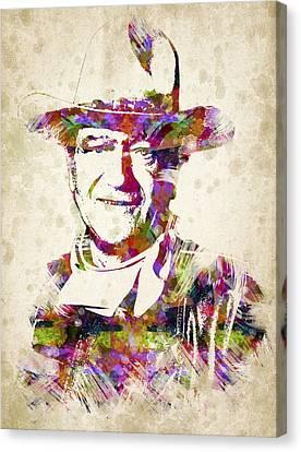 John Wayne Portrait Canvas Print by Aged Pixel