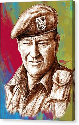 John Wayne Stylised Pop Art Drawing Potrait Poser Canvas Print